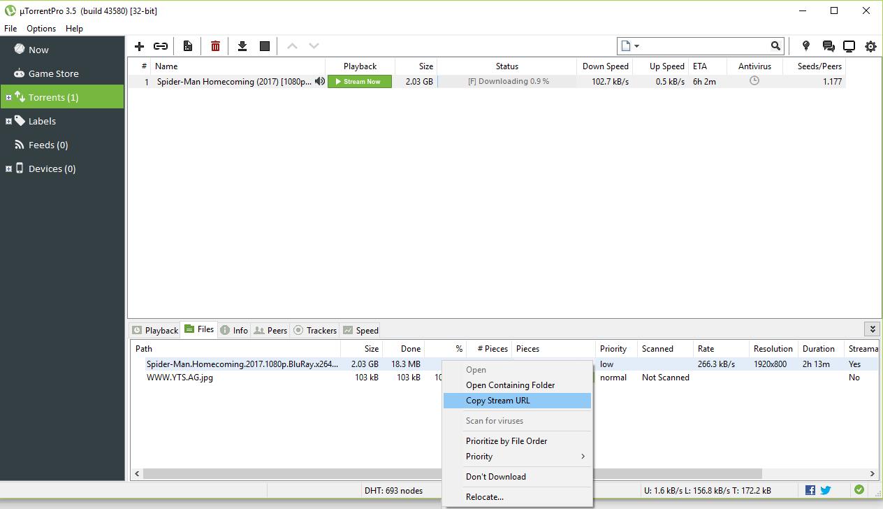 Capture Stream URL from Torrent