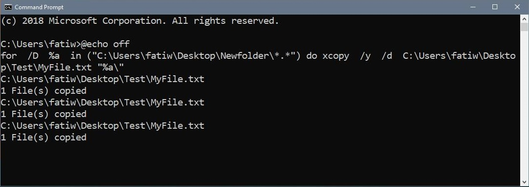 Copy a file to multiple folders in Command Prompt