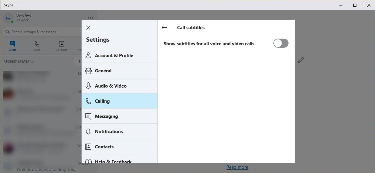 Enable Skype Subtitles on Windows