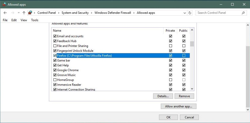 Removing an application from Windows Defender