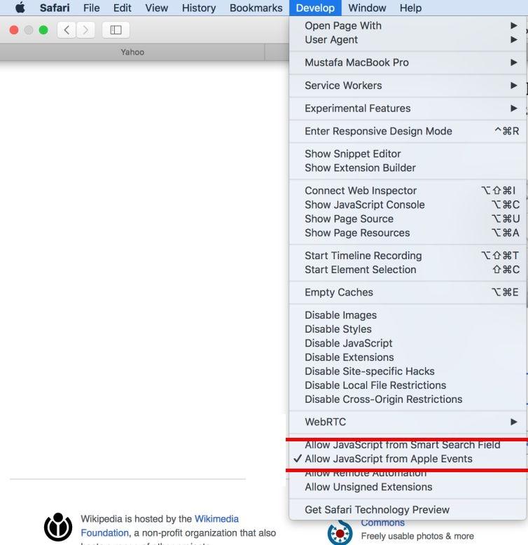 Run Scripts on Safari Browser