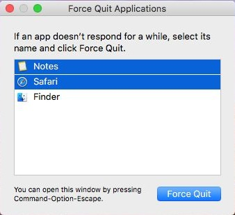 Force Quit Unresponsive Apps on macOS