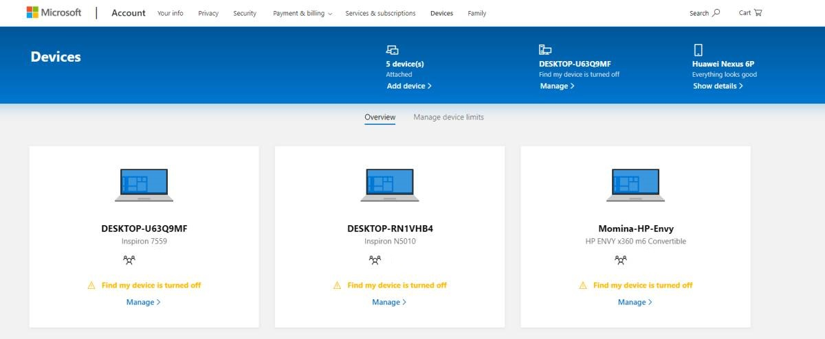 Microsoft Devices in Microsoft Account