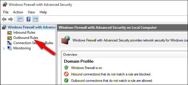 Open Outbound Rules in Windows Firewall