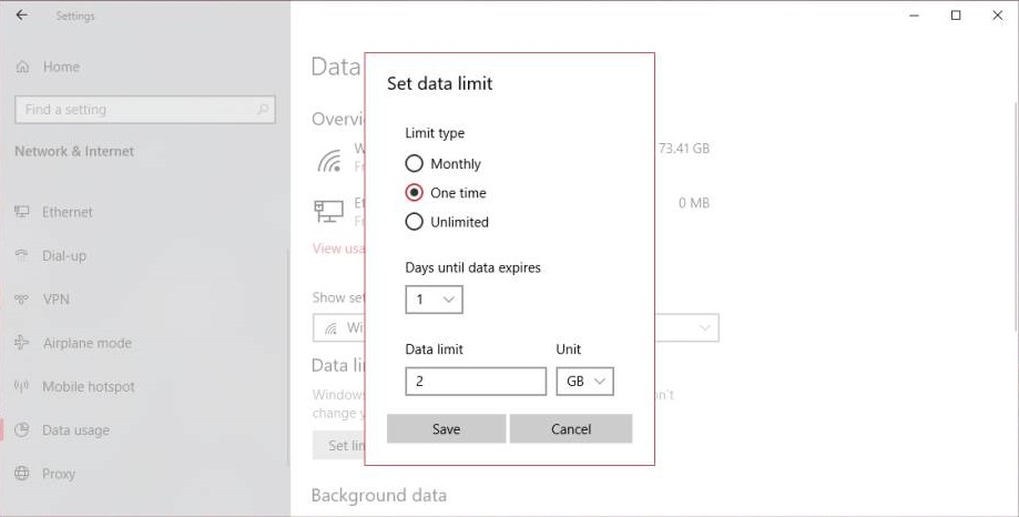 Set Data Limit Plan in Windows 10