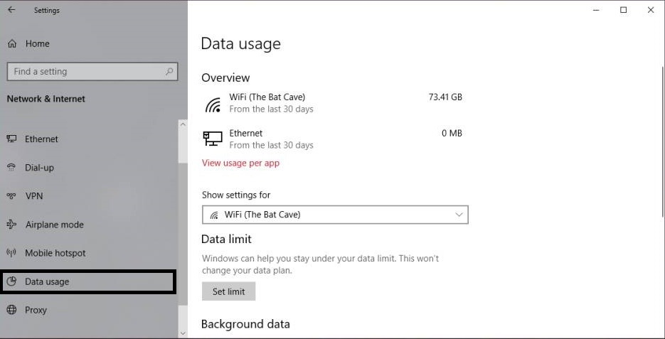 Set Data Usage Limit in Windows 10