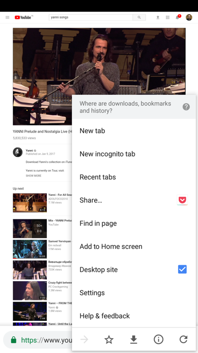 YouTube Desktop Site for Background Playback of Videos on Android