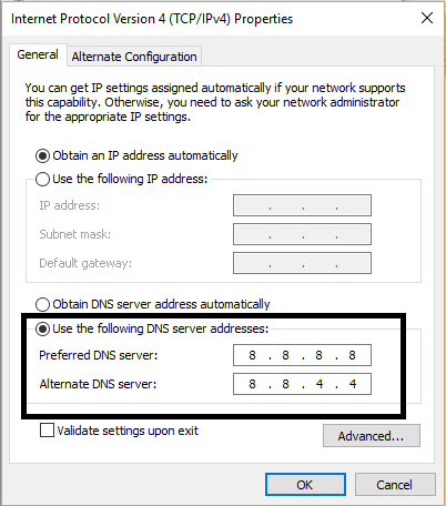 Add Custom DNS Settings from TCP IPv4 Properties