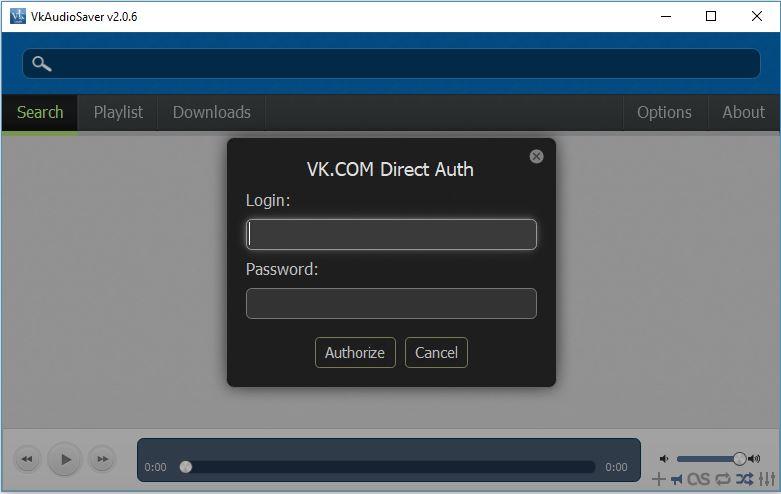 Authorize VK.COM in VkAudioSaver