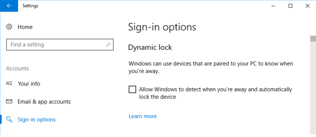 Enable Dynamic Lock in Windows 10