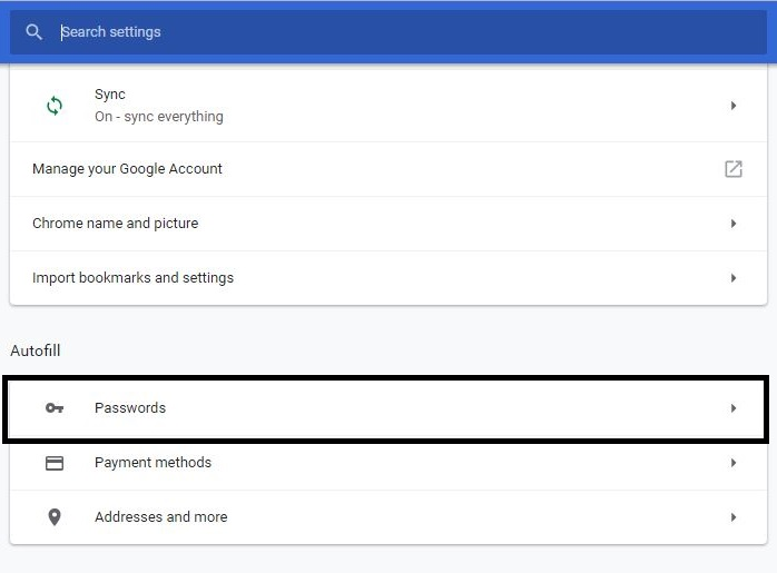 Form Autofill Settings in Google Chrome