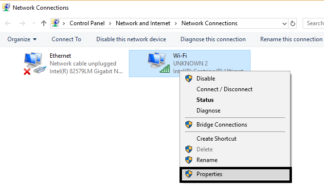 Open Network Connection Properties