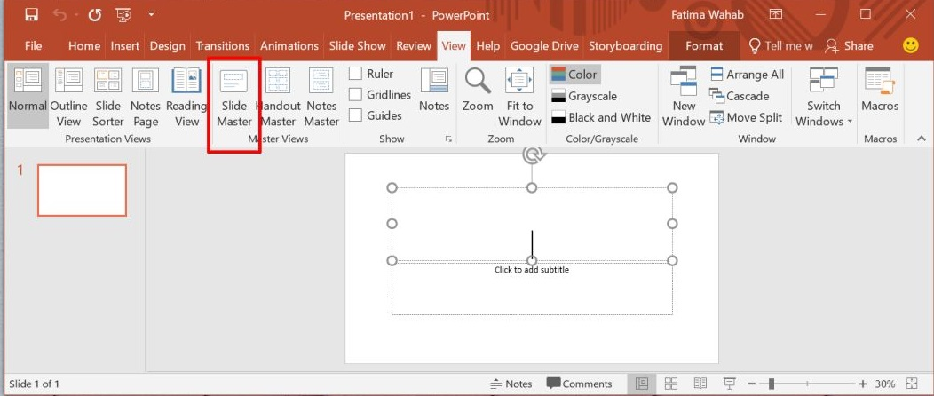 Open Slide Master to Edit Master Slide in PowerPoint