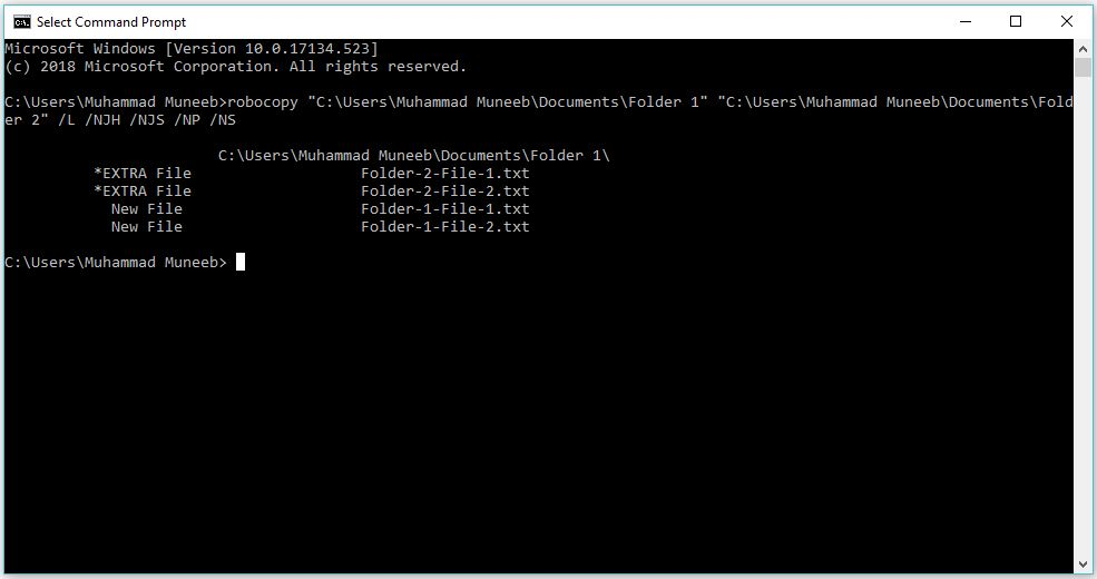 Compare the content of two folders from Command Prompt