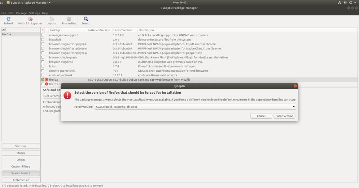 Downgrade Ubuntu Program Using Synaptic Package