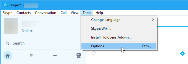 Open Skype Options