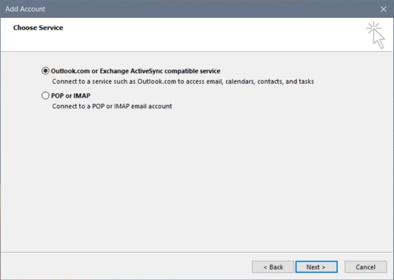 Outlook account or Exchange ActiveSync compatibility service in Microsoft Account