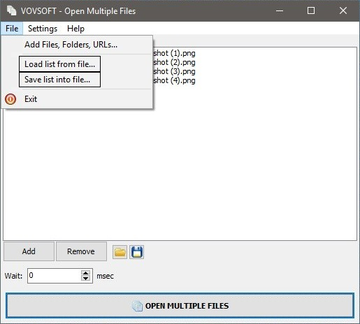 Save list into file using Open Multiple Files Application