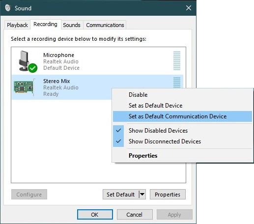 Choose Default Communication Device