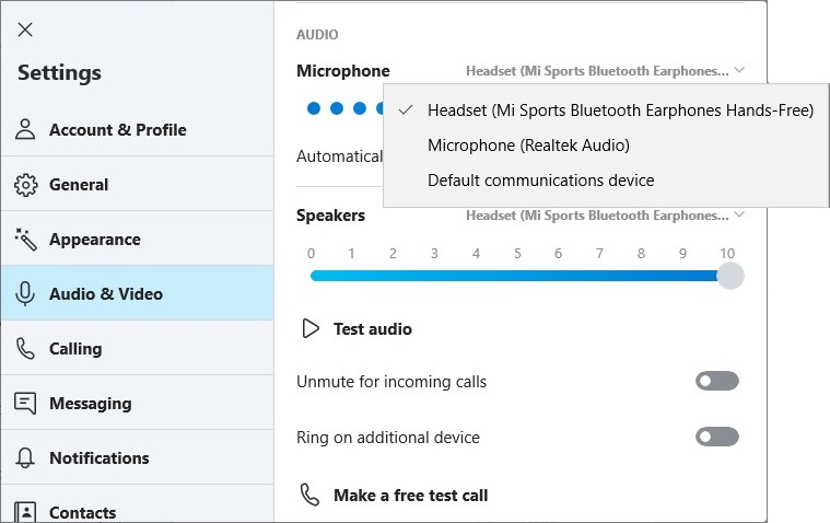 Choose the Microphone on Skype