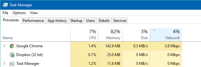 Task Manager Network Usage