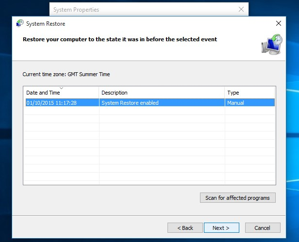 Enable System Restore in Windows 10