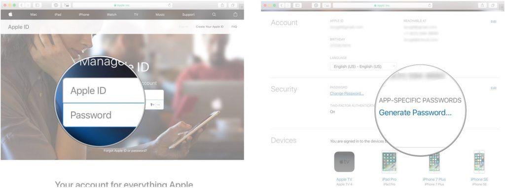 Generate App Specific Passowrd on iCloud
