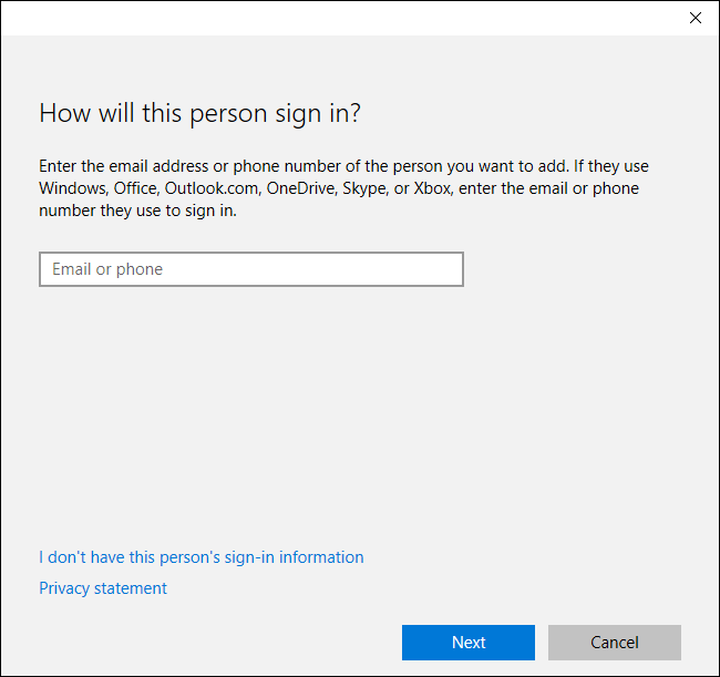Sign in details for new user
