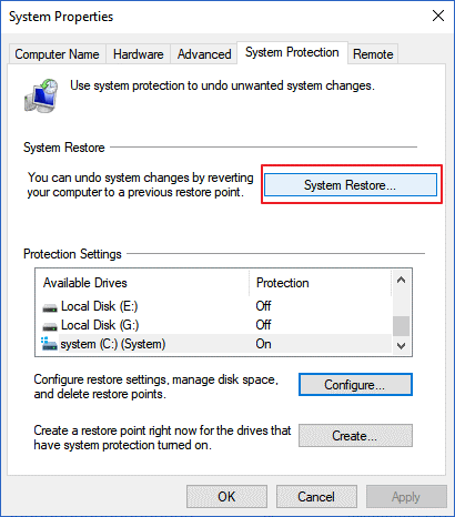 System Restore in System Protection