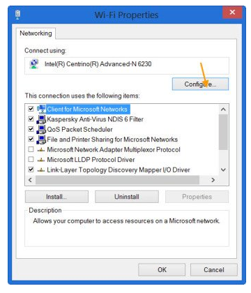 Wi-Fi Properties in Windows 10