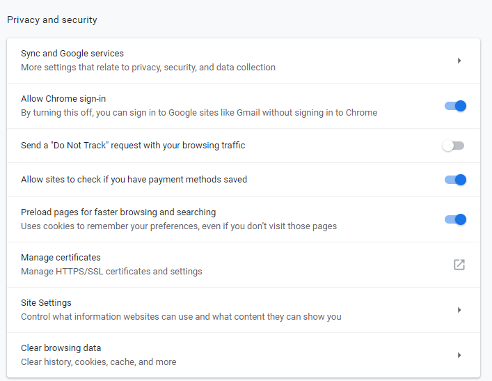 Google Chrome Privacy and Security Settings