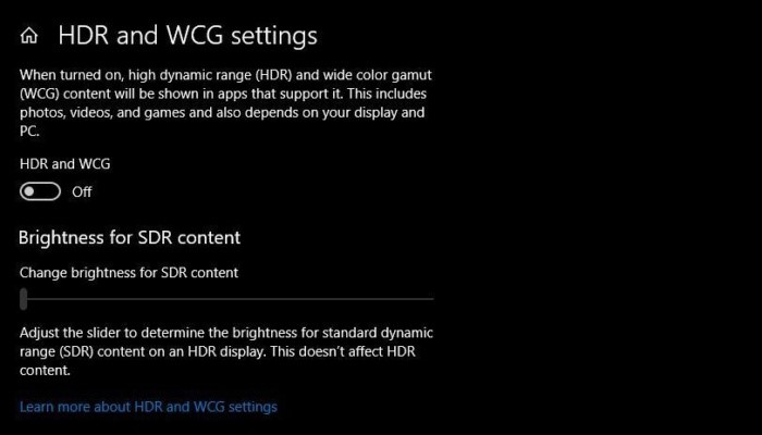 HDR and WCG Settings