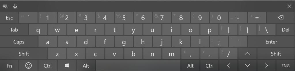 Special Keys in On-Screen Touch Keyboard