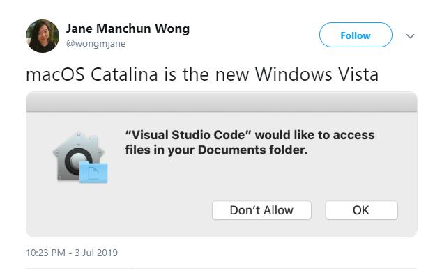 MacOS Catalina is Windows Vista