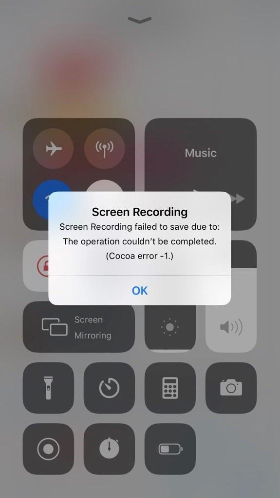Screen Recording Error Message in iPhone