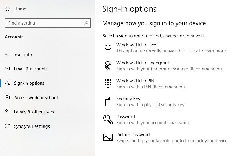 Sign in options in windows 10