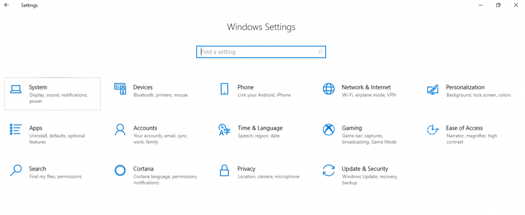 Windows Settings from Action Center