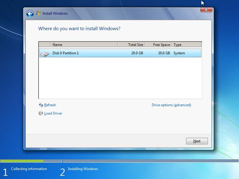 location where you want to install windows 7