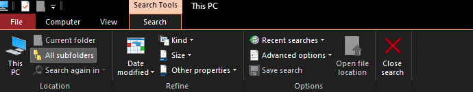 Search option in Windows 10