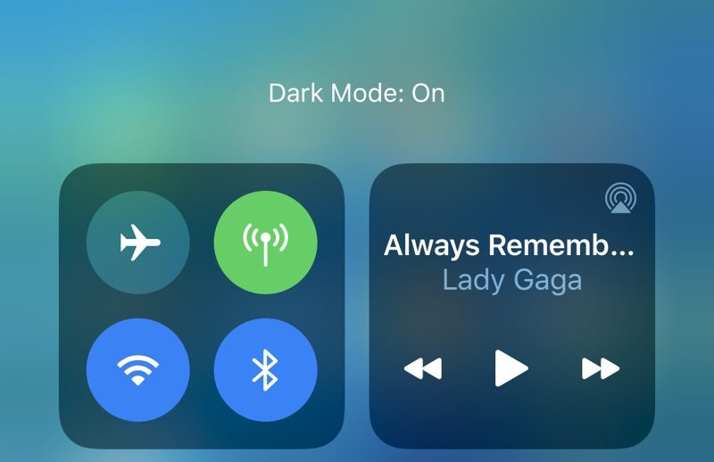 Dark Mode from Control Center