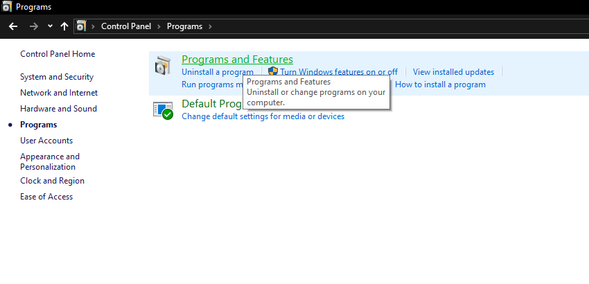 Program and features