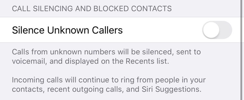 Silence Unkown Callers