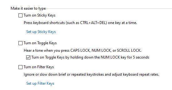 Turn off filter keys option