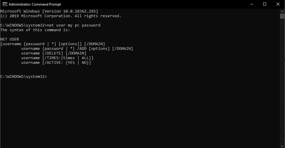 use command prompt to reset the password