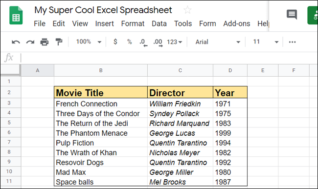 open google spreadsheets