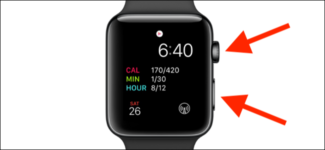 press both side buttons of the Apple watch to force restart