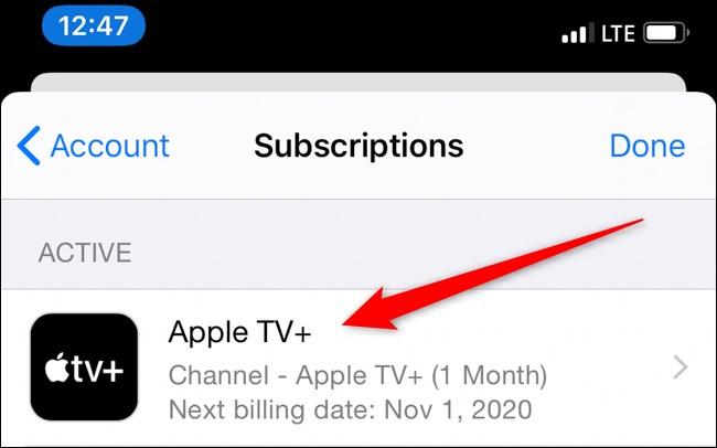 tab on Apple TV