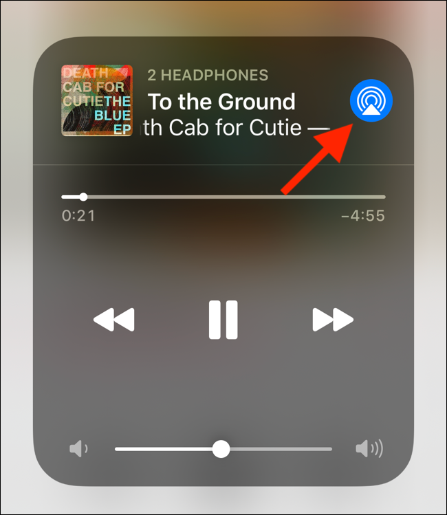 tap on airplay button