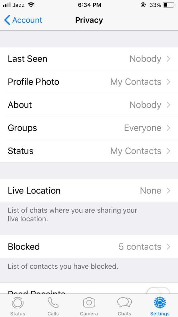 Groups option in Privacy