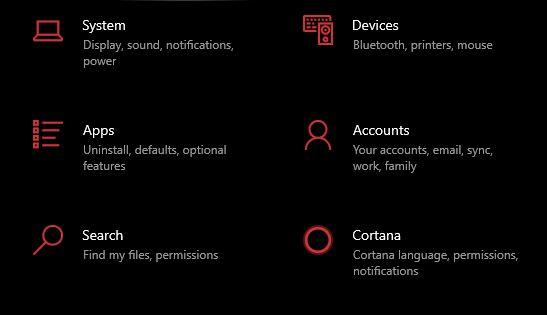 accounts in settings